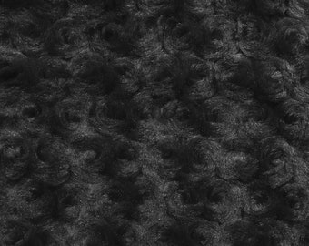 Ruth BLACK Cuddle Minky Rosette Soft Faux Fur Fabric by the Yard - 10083