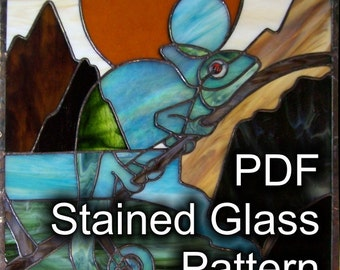 PATTERN for Chameleon in Stained Glass