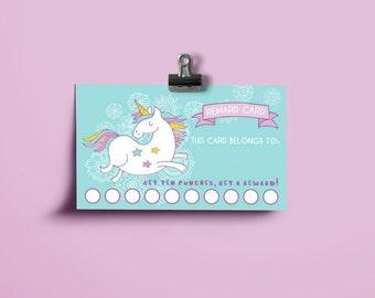 Printable Reward Cards - Blue Unicorn - Printable Reward Punch Card - Chore Card -  Potty Training Card -Behavior Card - Instant Download