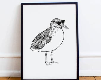 Cool Seagull Poster | Funny Bird Poster | Ray Bans | Black and White Art | Home decoration