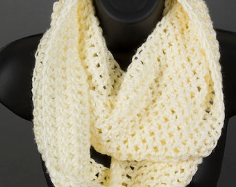 Women's infinity scarf, off white scarf, cream scarf, ready to ship, crocheted scarf