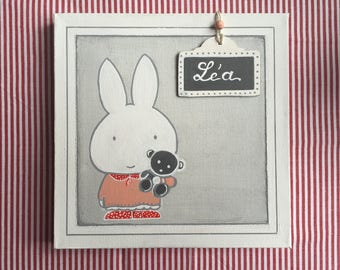 """Table/door Plaque name child/baby pink and grey """"little rabbit and his teddy bear"""""""