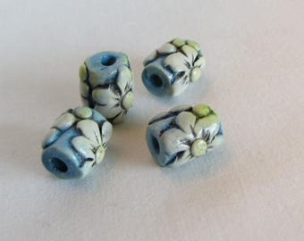 Whimsical Flower Beads White and blue, Set of 4 Beads, Polymer Clay Beads, Whimsical Rustic Flower Beads