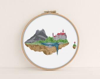 Floating Castle Cross stitch Pattern / PDF Pattern / fairy tale cross stitch / Hogwarts Cross stitch / magic cross stitch / PixlStitch