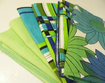Vintage Mod Napkins - Set Of 7 - Blue Green - Flower - Plaid - Solid