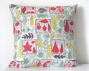 Vintage Pillow Fall Autumn Leaves 50s Fabric Cushion Cover