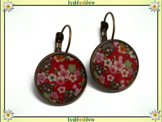 Earrings retro bronze resin pink red white green resin brass sakura cherry blossom Japan