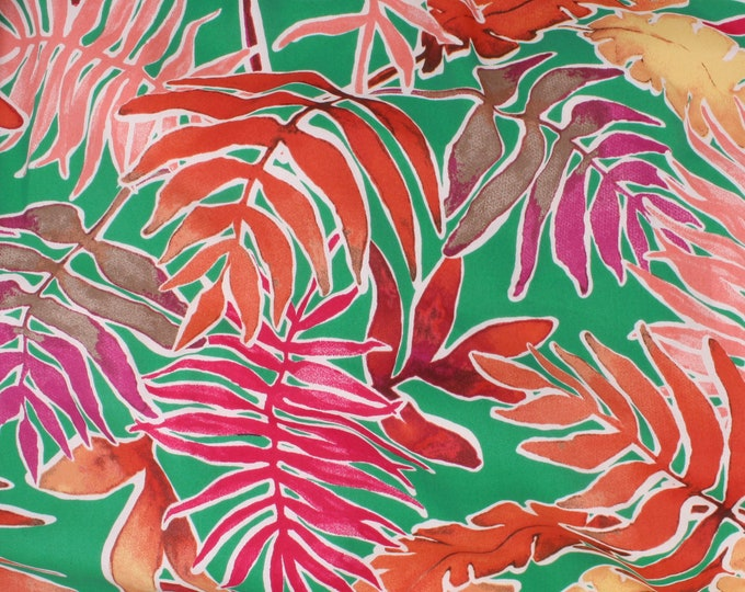 Peyton Crepe Leaf Print in Green by Telio - Polyester Crepe de Chine FABRIC by the Yard