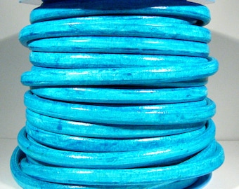 Distressed Turquoise Regaliz Licorice Leather - R34 - Choose Your Length