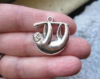 4 Sloth Charms in Silver Tone - C2665