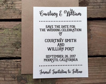 Save the Date Wedding Invitation, Rustic, Polka Dot Neutral Colors, Calligraphy Font, Recycled Materials, Magnet Optional