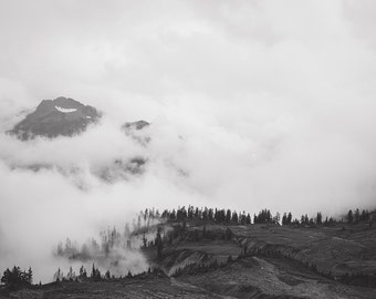 "Black and White Photography Print - Fine Art Photograph Fog and Trees Mountain Misty Adventure ""Artist Point 1"""