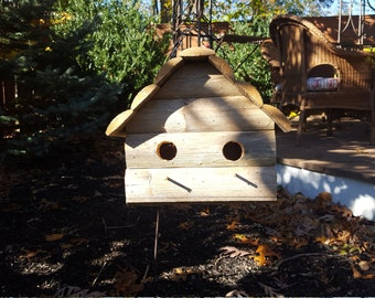 Bird house rustic double reclaimed wood fencing