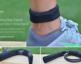 Activity/Step Tracker Nylon Ankle Band – Encompasses Original Straps and Exposes Sensors for Skin Contact (Black)