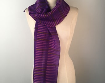 dark purple and pink stripes oblong scarf 80s vintage long narrow jewel tone scarf