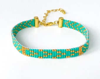 Stunning Turquoise and Gold Handwoven Beaded Bracelet