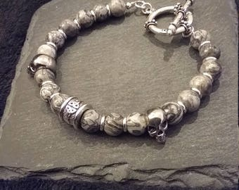 Silver Celtic Skull Gemstone Bracelet in Scenery Jasper