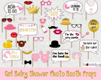 Girl baby shower photo booth props. Gold/Pink Printable. DIY baby shower bubble speech. Instant download. PDF Digital file. High resolution.