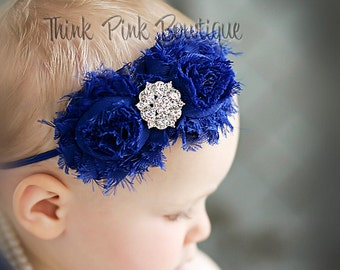 Baby headbands, royal blue headband, Baby Headband, Shabby Chic Headband, Newborn Headband, Infant Headband, Girls Headbands, Baby Bows. #24