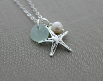Sterling Silver Starfish Necklace with Genuine Sea Glass and Freshwater pearl , Personalized Beach jewelry - Seastar Necklace