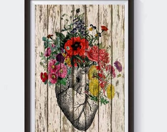 Anatomical Heart and Flowers- Human Anatomical Human Anatomy Heart Print Human Heart and Flowers Print- Science Gift- Anatomical Gift