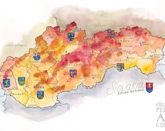 Slovakia Map Illustration Slovakian Watercolor Bratislava Map Wall Art Poster Print