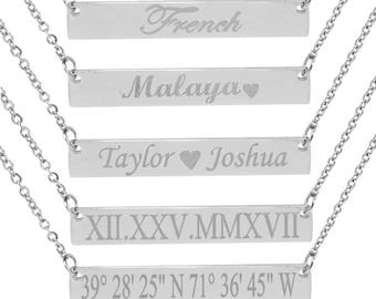 Personalize Silver bar necklace Bar Necklace Gold Bar Necklace Personalized Name Plate Necklace Gold Name Bar Necklace
