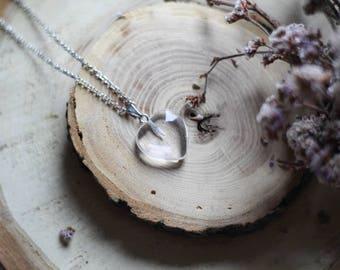 Rhinestone Heart Pendant, Aventurine Heart Pendant, Romantic Necklace, Valentine's gift, Love Pendant, Clear Transparent Heart Necklace