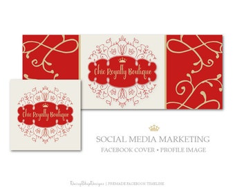 Facebook Cover,Profile Image,Social Media Marketing-Royal,Crown,Swirls,Frame-Red,Gold,Beige-Facebook Storefront