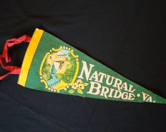 Vintage Natural Bridge Virginia Souvenir Travel Pennant Green Yellow Felt 1950s Collectible