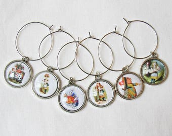 Alice in Wonderland Wine Glass Charms Set - Foodie Tenniel Illustrated White Rabbit Cheshire Cat - Curioser and Curioser Barwares Gift