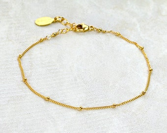 Delicate Gold Bracelet, Dainty Chain Bracelet, Thin Gold Chain, Layering Bracelet, DEW DROPS Bracelet, rose gold, Mothers day gift for her