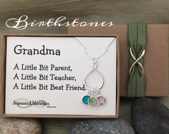 Gifts for Grandma Necklace - Mother's Day 60th Birthday Gift for Mom Gift - Silver Eternity Birthstone Necklace for Grandma from GrandKids