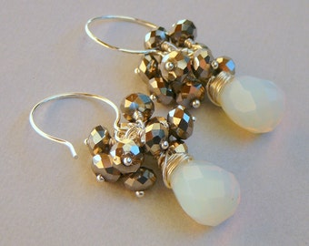 Sterling Silver Wire Wrapped Earrings With  Rainbow Opalite Briolettes Accompanied By Silver Multi Faceted Glass Crystals
