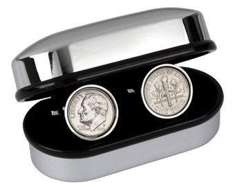 10 year Anniversary- Tin Year- Gift, 2008 Cufflinks, Tin Anniversary Gift, Aluminum Anniversary Gift, Dime Coin Cufflinks, 10th Anniversary