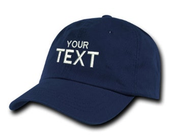 Navy Blue Dad Hat Custom Embroidered Baseball Cap, Your Own Personalized Hat Custom Hat on a Curved Brim Baseball Cap, Choose Your Text