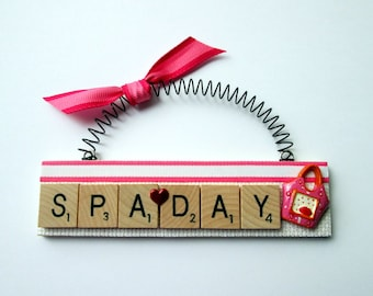 Spa Day Scrabble Tile Ornaments