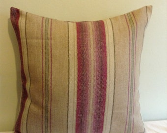 "16"" Handmade contemporary modern purple, beige stiped cushion cover,  pillow, scatter cushion."
