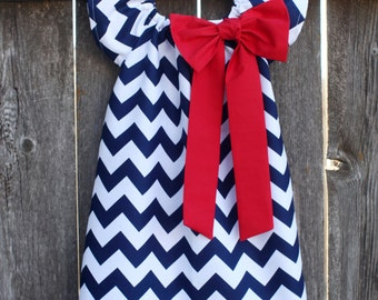 Navy Red Chevron Bow Peasant Dress - Baby Girl