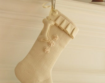 Dog Christmas Stocking Burlap Linen Winter White Pet Ivory Three Rosettes