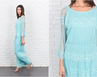 Vintage 70s Blue Maxi Dress Lace Floral Sheer Slv Boho Hippie Medium M 7197