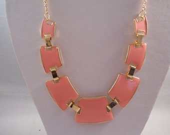 Gold and Pink Pendant Bib Necklace on a Gold Tone Chain