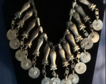 Middle Eastern Tin Fish Necklace