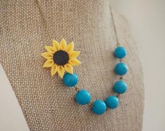 Bridesmaid Gift Bridesmaid Jewelry Sunflower Necklace Turquoise Necklace Turquoise Jewelry Statement Necklace Bib Necklace Beaded Necklace
