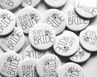 Team Bride Hens Party Badges White and Black - Hen Night / Hen Do / Bachelorette Badges