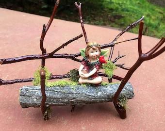Fairy On Bench Miniature Fairy Garden Wood Twigs Moss Woodland Furniture