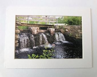 Waterfall, Bridge, Park, Matted Photo, Water, Oliver Mill Park, Middleboro, Massachusetts