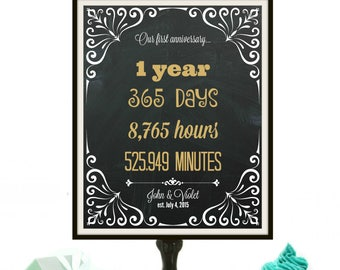 First Wedding Anniversary Gift, Wedding Anniversary Sign, 1 Year Wedding Anniversary, First Anniversary Paper, Anniversary Gift for Couple