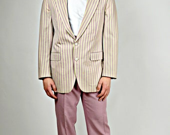 Mens 1920s Style Jacket, Pink Stripped Sports Coat, 1920s Gatsby Jacket, Striped Sports Coat,  Vintage Blazer, Mens 1920s Blazer, 42 Chest