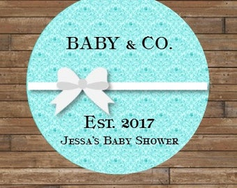 Personalized Baby Shower Stickers     BABY & CO Stickers or Tags    Baby Shower Favor Tags